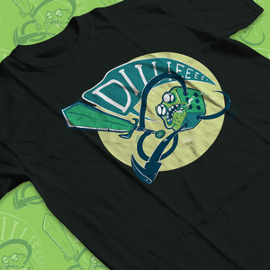 Low angle of a tee shirt with green d6 yelling DIIIIIEEE as it swings a sword.