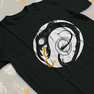 Low angle shot of a tee shirt with shadow-like creature winding through a ring.