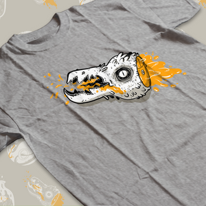 Low angle shot of tee shirt with cartoon creature head with orange blood drawn during the 2019 Inktober drawing challenge.
