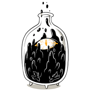 Artwork of shadow-like liquid creature, with one eye, dripping upwards out of a jar.