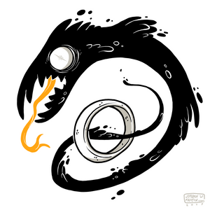 Artwork of shadow like creature winding through a ring.