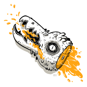 Artwork of cartoon creature head with orange blood drawn during the 2019 Inktober drawing challenge.