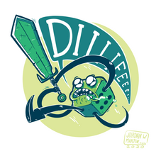 Load image into Gallery viewer, Cartoon of green d6 yelling DIIIIIEEE as it swings a sword.
