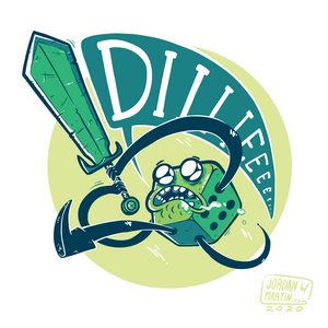 Cartoon of green d6 yelling DIIIIIEEE as it swings a sword.