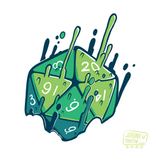 Load image into Gallery viewer, Green 20 sided die melting upwards with magic.