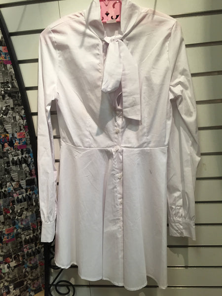 Long Sleeve Button-Up Dress w/ Bow