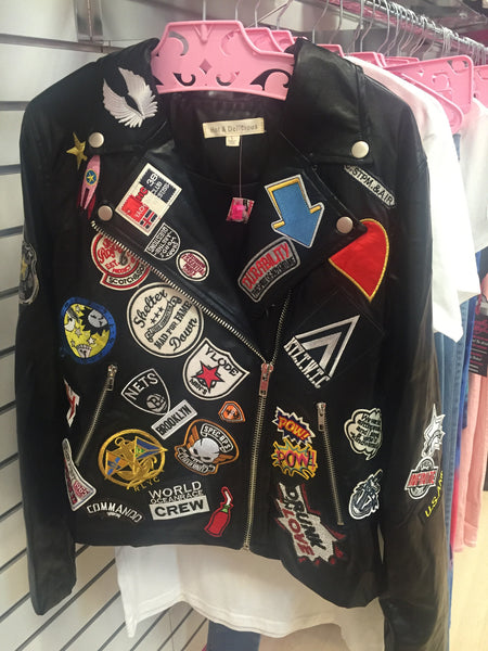Biker jacket with patches