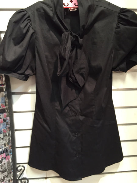 Black Ruffle Front Button Up
