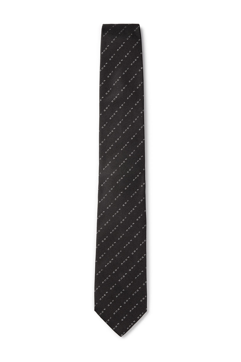 David August Silk Woven 'Eff You' Neck in Black with White Pinstripe
