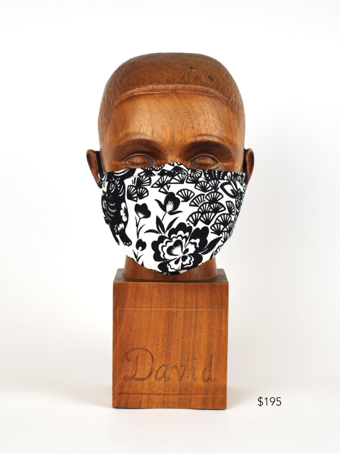 Premium White with Black Floral Cloth Face Mask