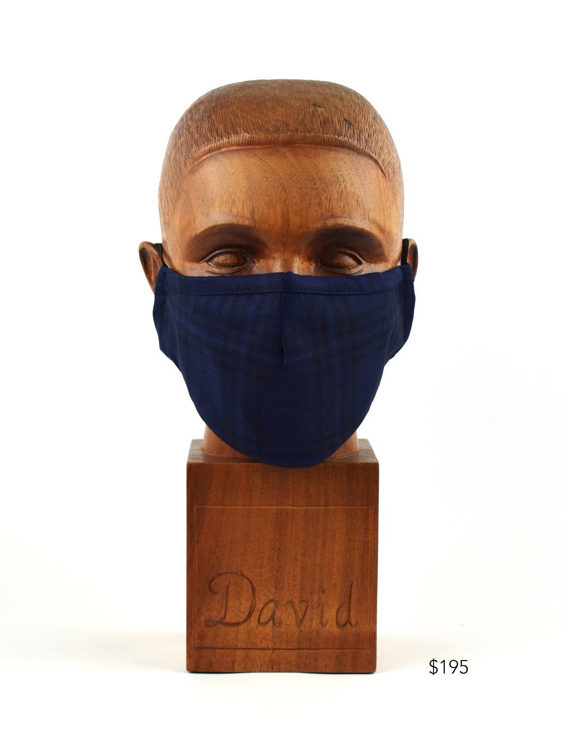 Premium Navy Blue Window-Plaid Cloth Face Mask - FM18