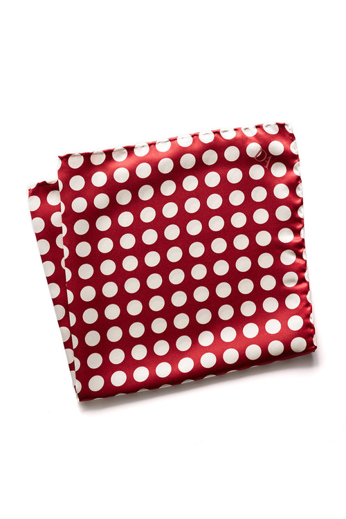 David August Red with White Polka-Dot Italian Silk Pocket Square