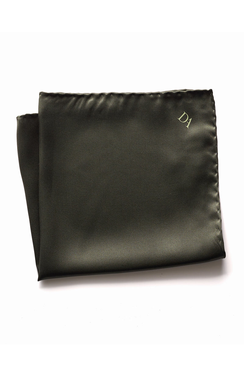 David August Solid Olive Green Italian Silk Pocket Square