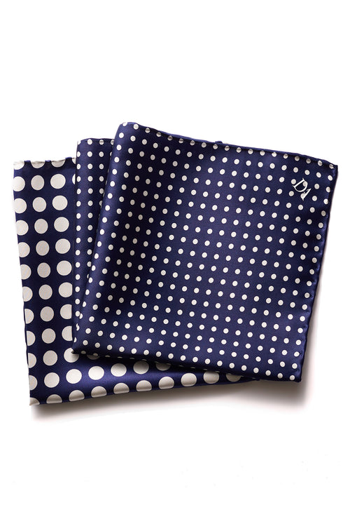 David August Navy with White Polka Dot Italian Silk Pocket Square