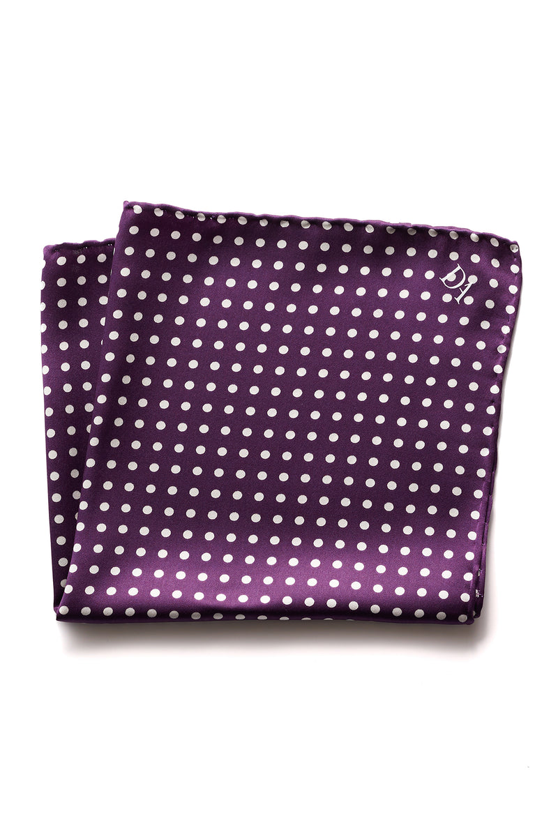David August Purple with White Polka Dot Italian Silk Pocket Square