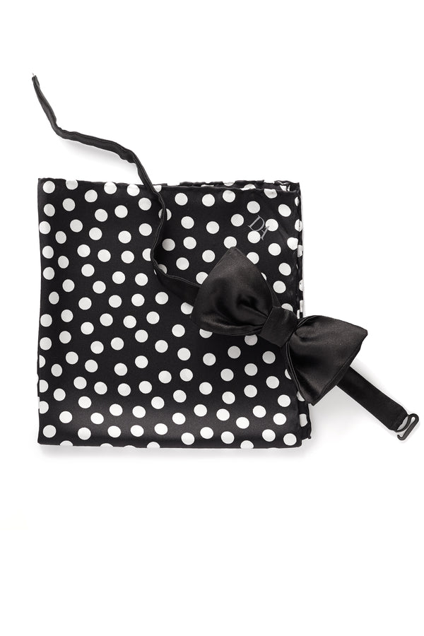 David August Black Grosgrain Bow Tie and Pocket Square Set