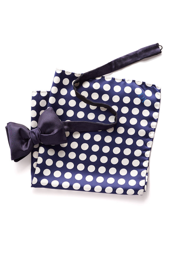David August Navy Silk Bow Tie and Pocket Square Set