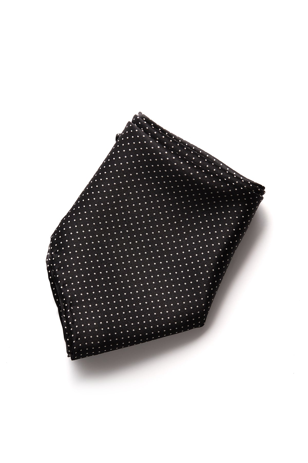 David August Black with White Polka-Dot Italian Silk Pocket Square
