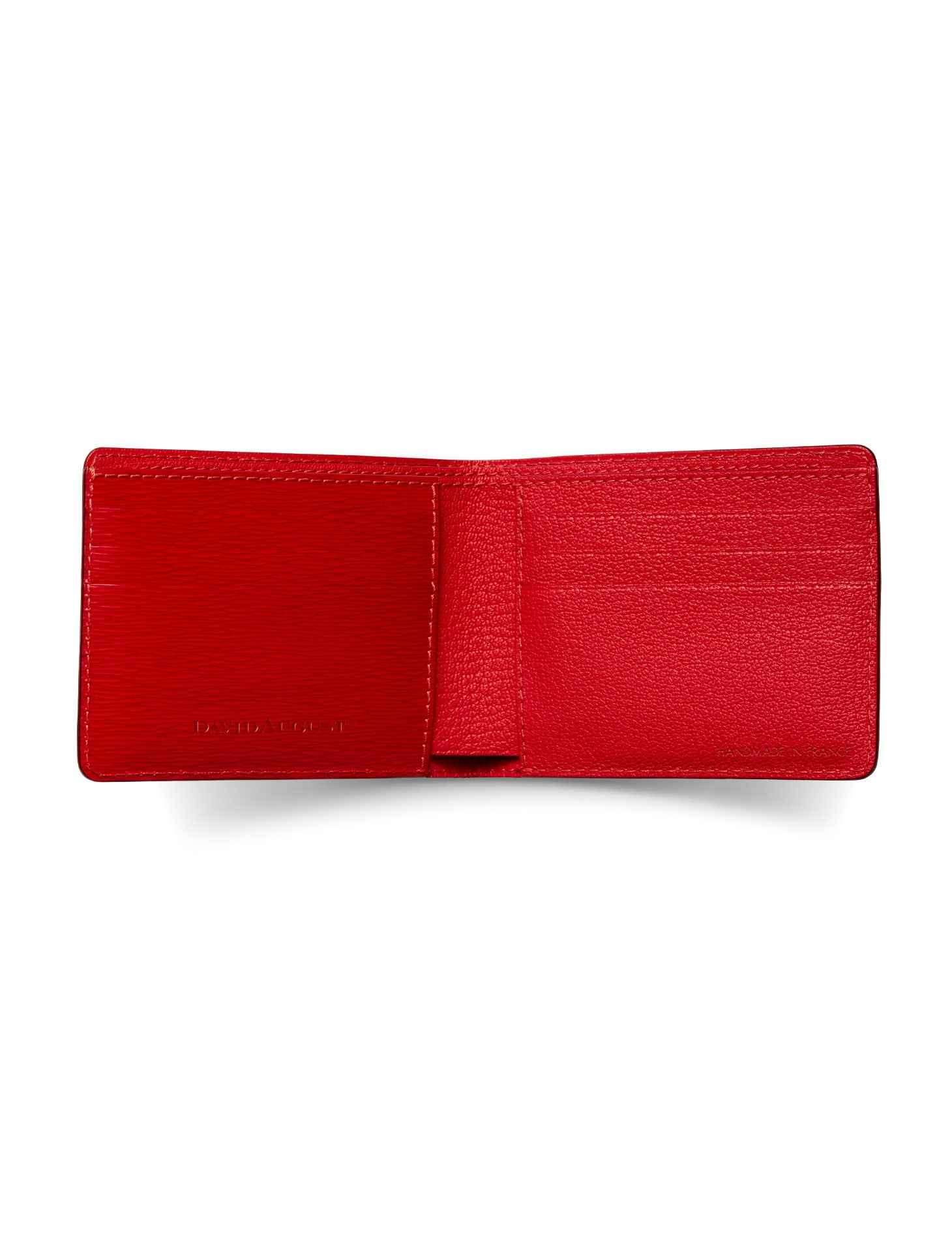 David August Luxury Genuine Epi Leather Bi-Fold Wallet in Red