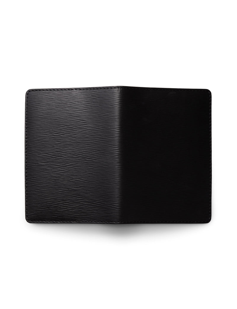 David August Luxury Epi Leather Passport Holder in Black