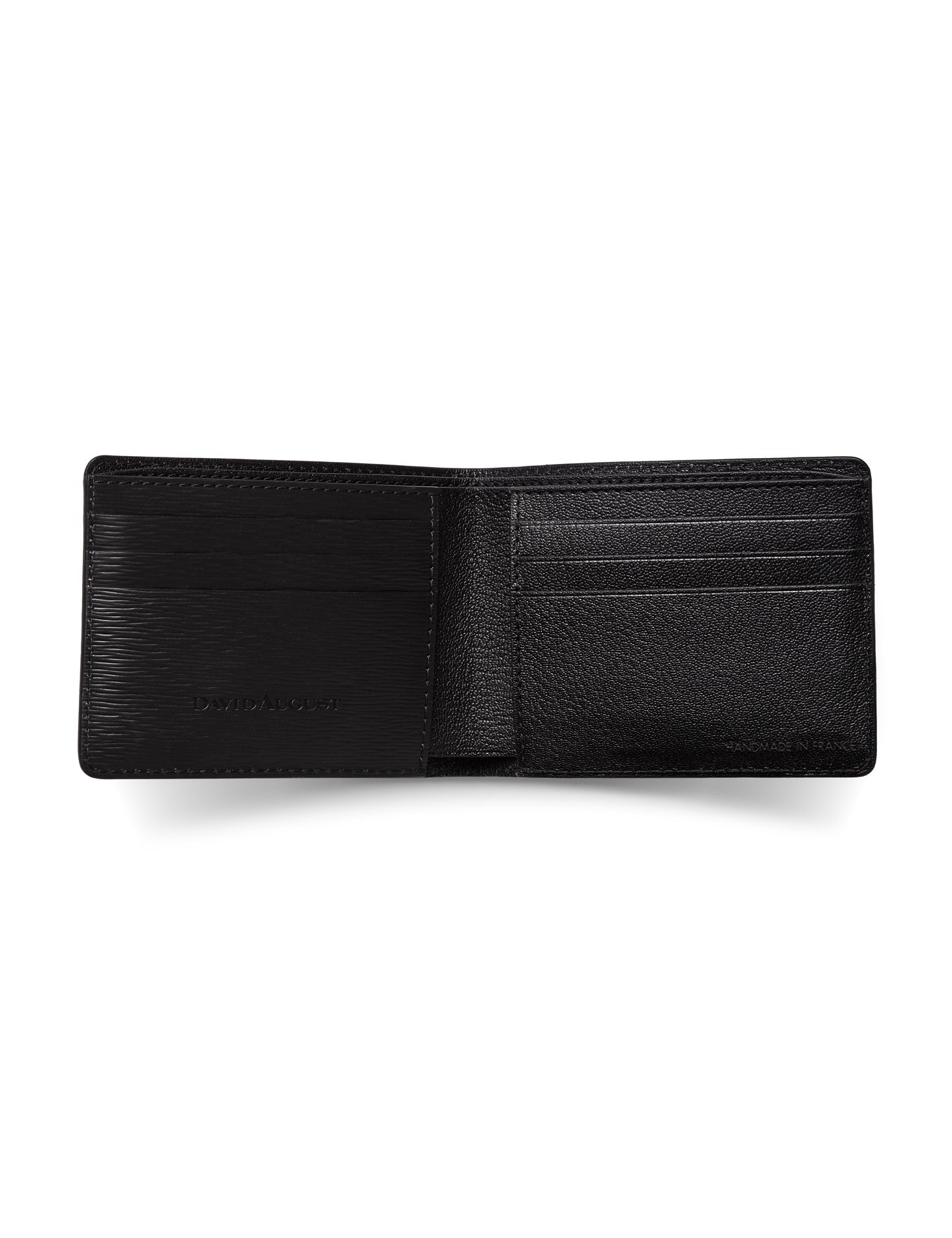 David August Luxury Genuine Epi Leather Bi-Fold Wallet in Black