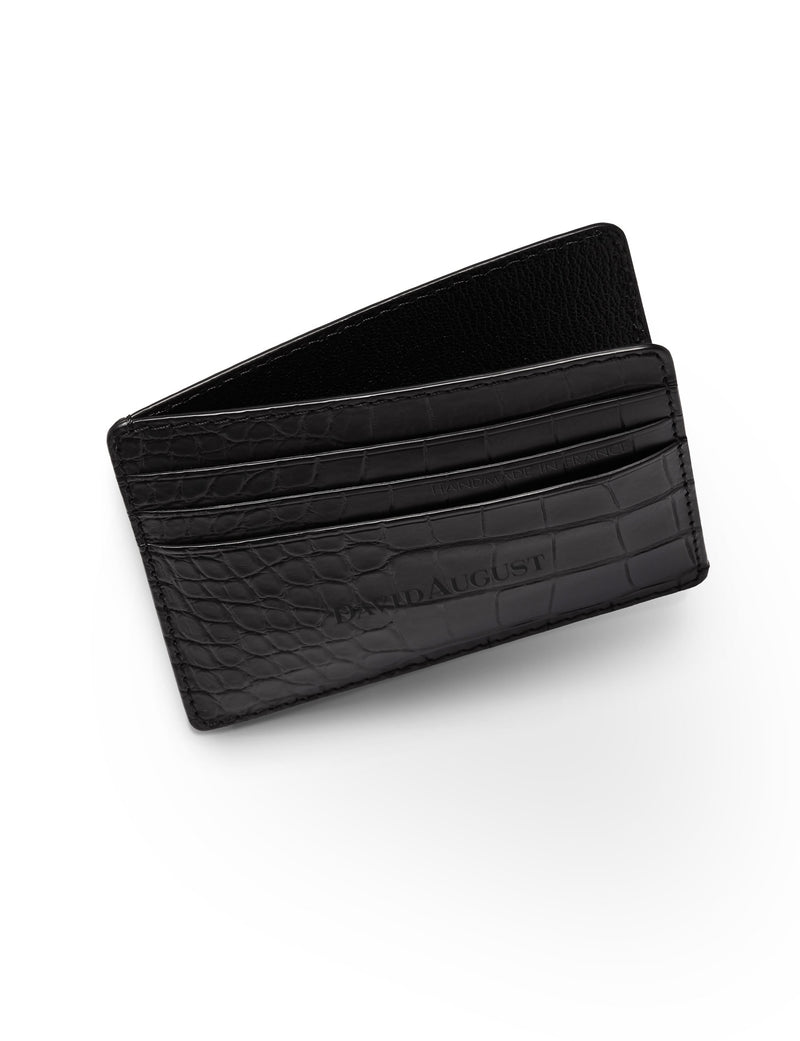 David August Luxury Genuine Alligator Card Case in Black