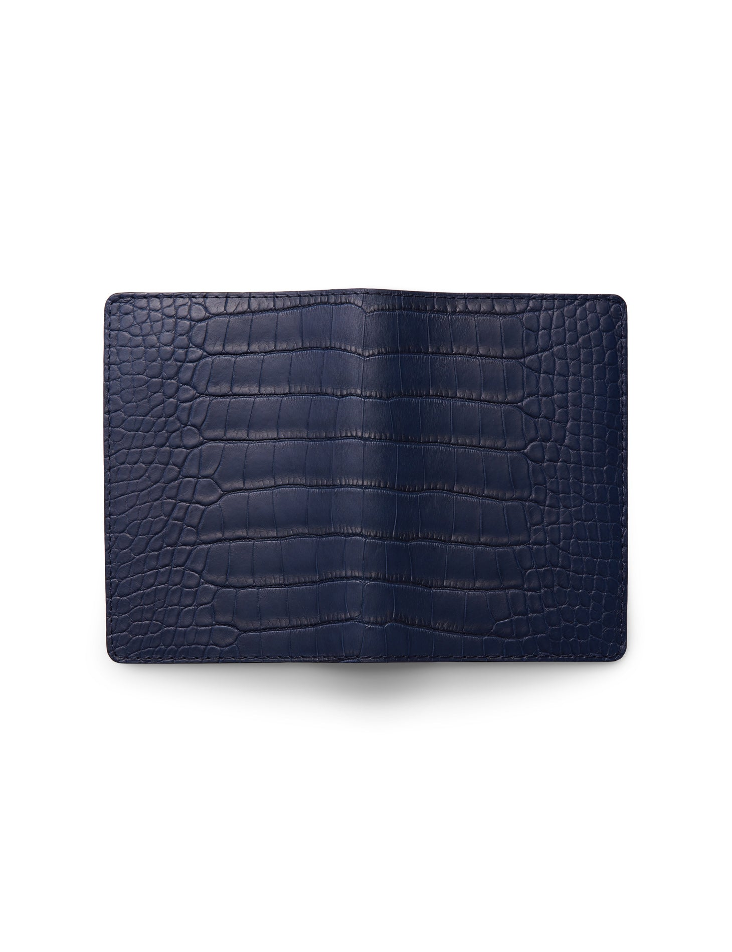 David August Luxury Genuine Alligator Passport Holder in Navy