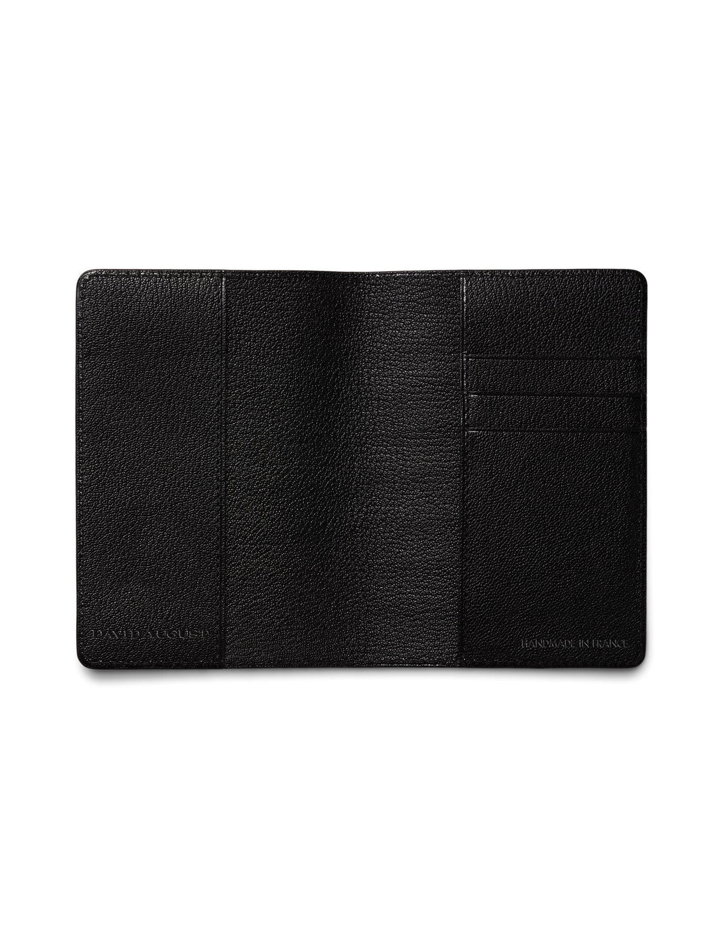 David August Luxury Genuine Alligator Passport Holder in Black