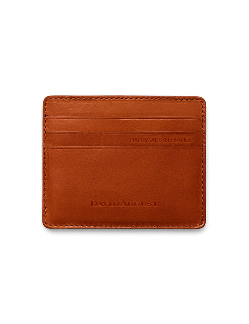 David August Luxury Genuine Vintage Calfskin Leather Card Case in Brown