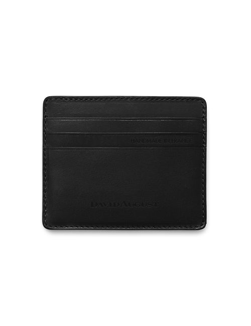 David August Luxury Genuine Vintage Calfskin Leather Card Case in Black