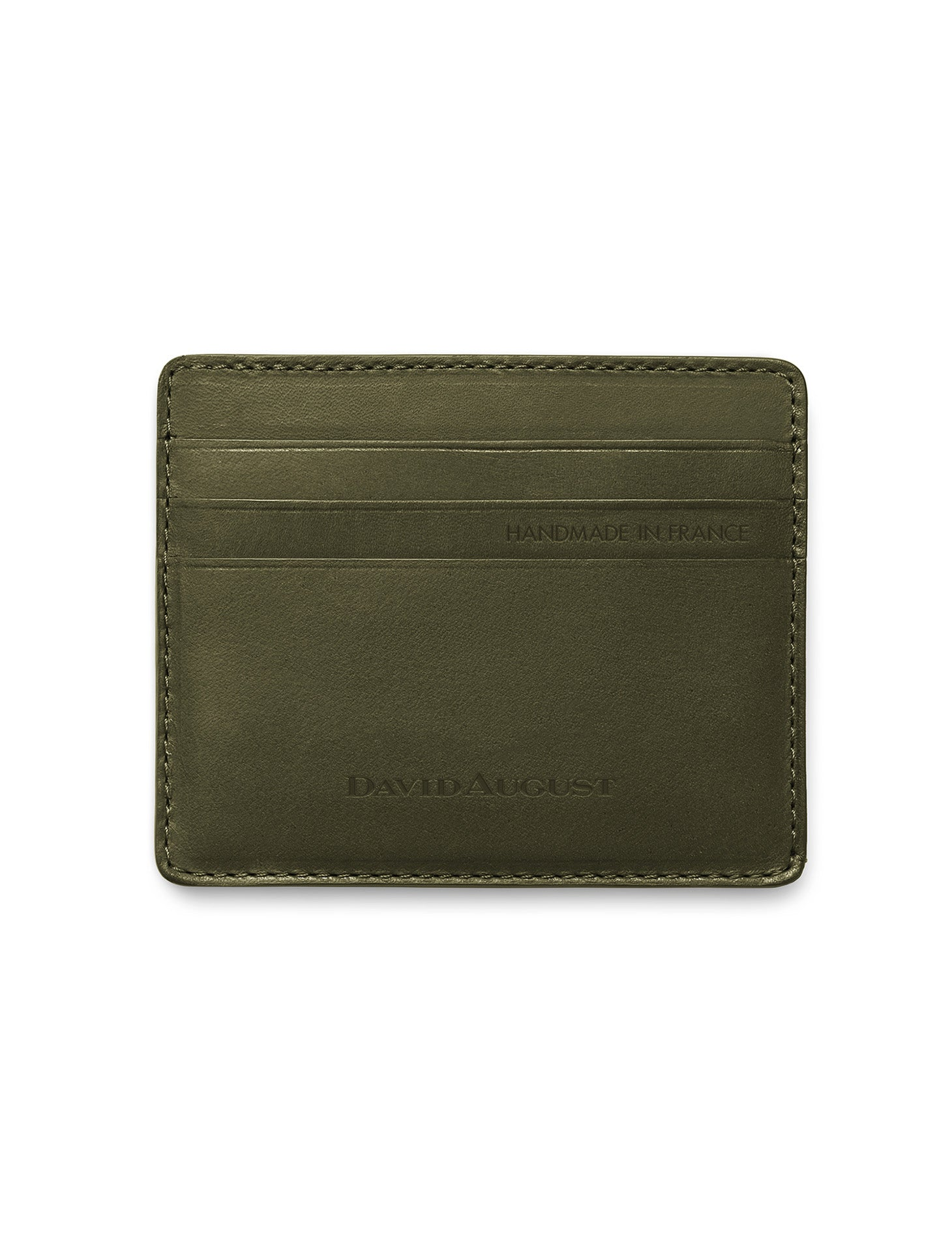 David August Luxury Genuine Vintage Calfskin Leather Card Case in Olive Green