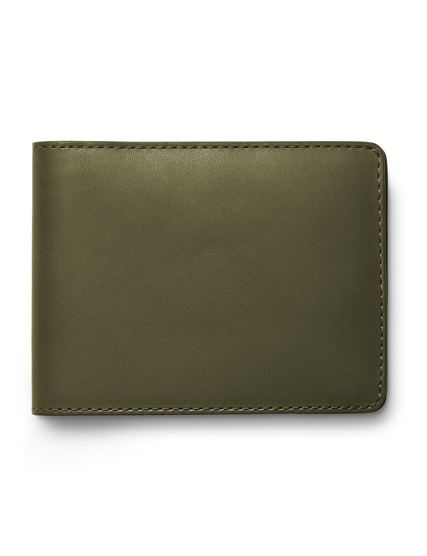 David August Luxury Genuine Vintage Calfskin Leather Bi-Fold Wallet in Olive Green