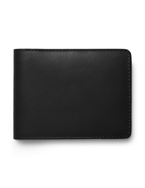 David August Luxury Genuine Vintage Calfskin Leather Bi-Fold Wallet in Black
