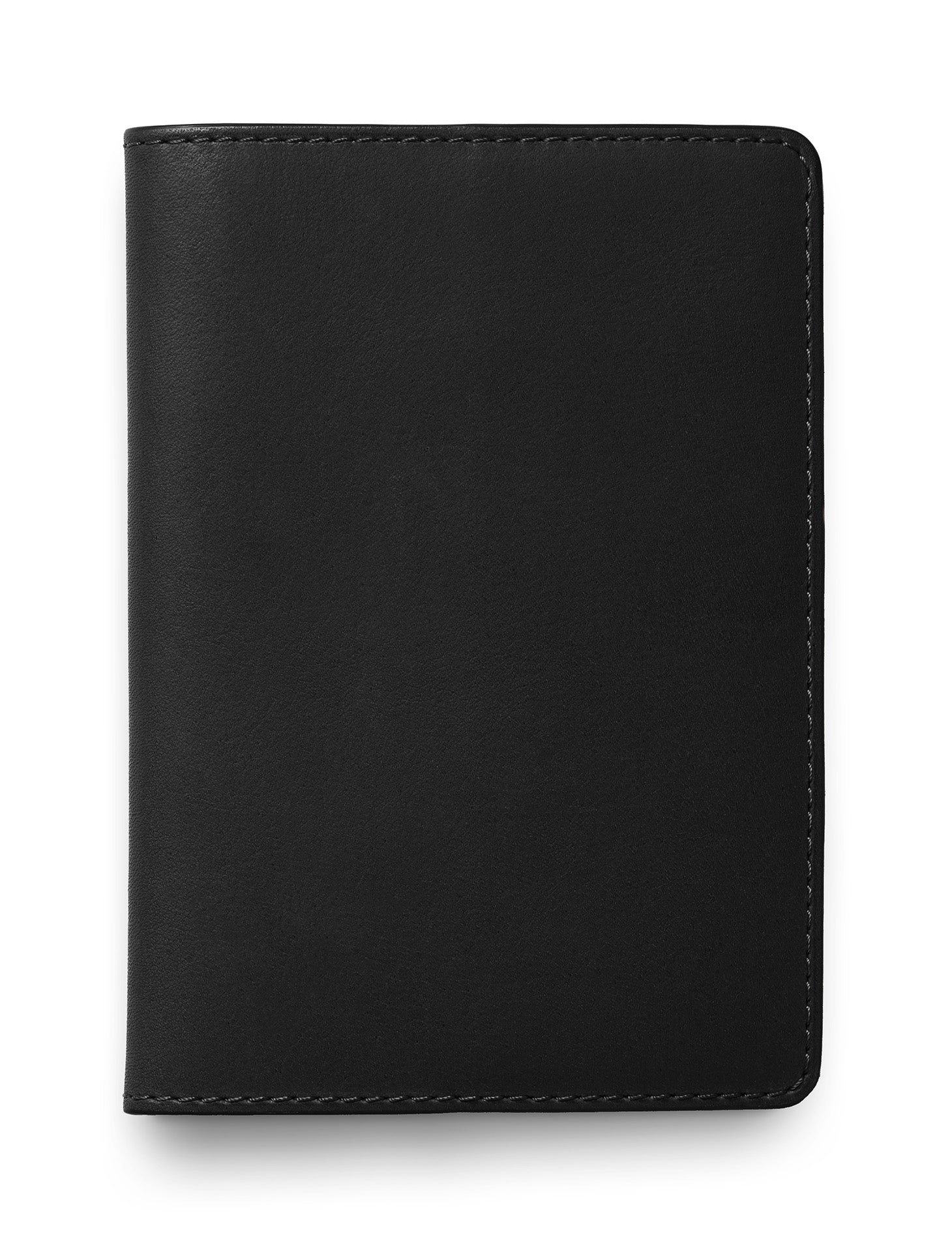 David August Luxury Genuine Vintage Calfskin Leather Passport Holder in Black