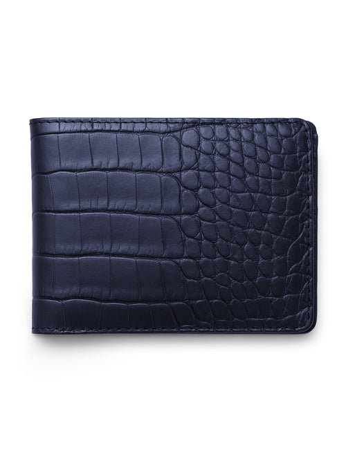 David August Luxury Genuine Alligator Bi-Fold Wallet in Navy