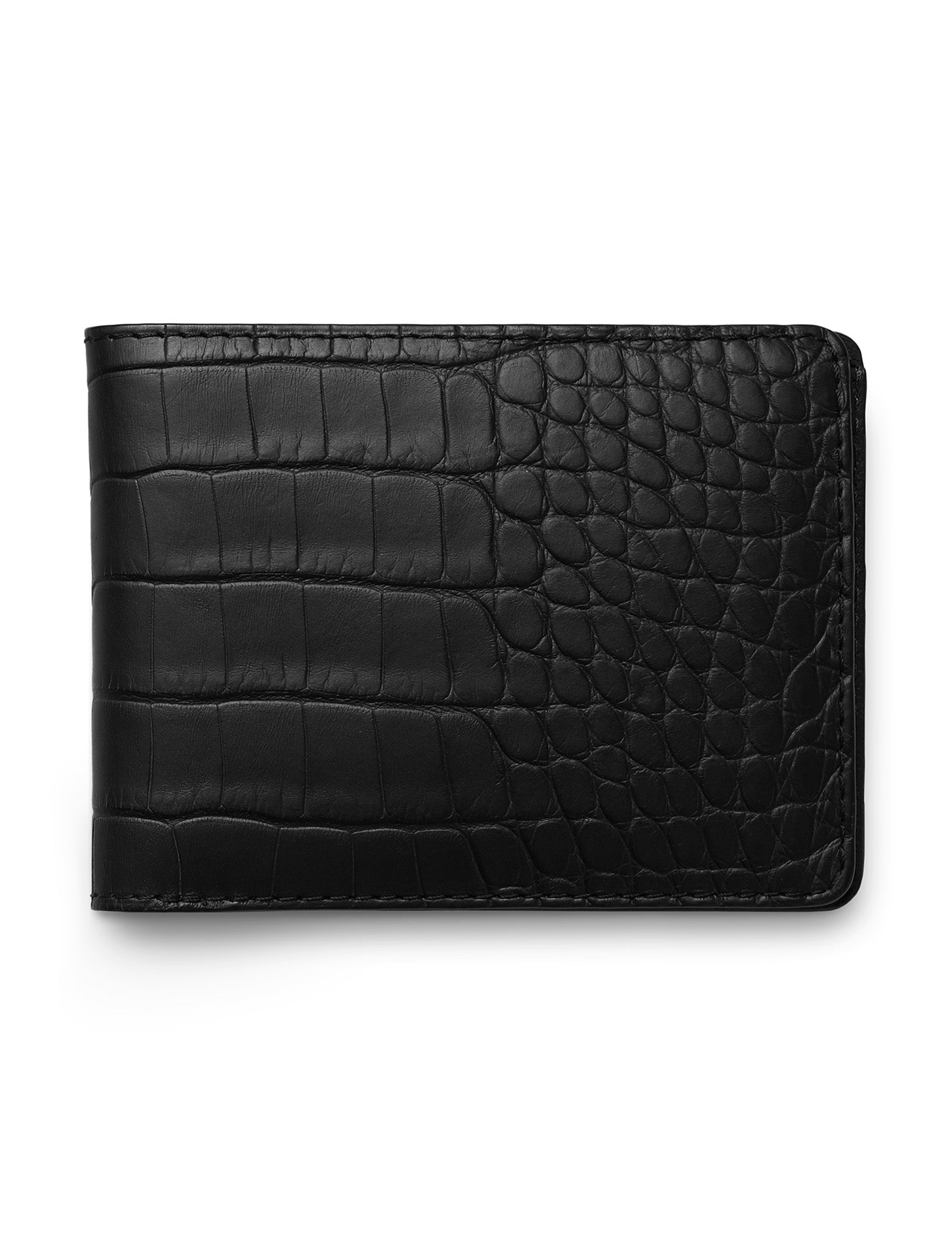 David August Luxury Genuine Alligator Bi-Fold Wallet in Black