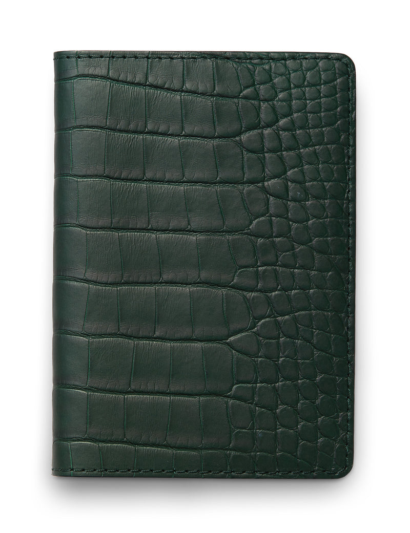 David August Luxury Genuine Alligator Passport Holder in Green