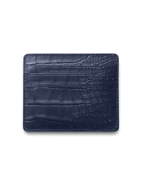 David August Luxury Genuine Alligator Card Case in Navy