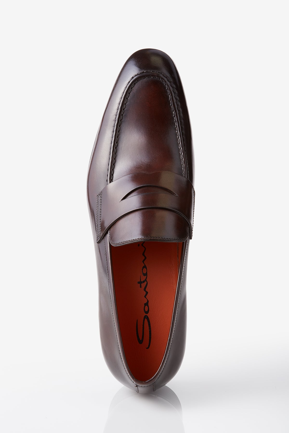 Santoni Gavin Leather Penny Loafer in Dark Brown