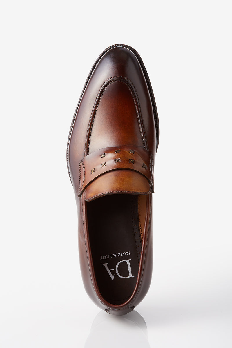 David August Leather Cross Stitched Penny Loafers in Whiskey Brown Di Bianco