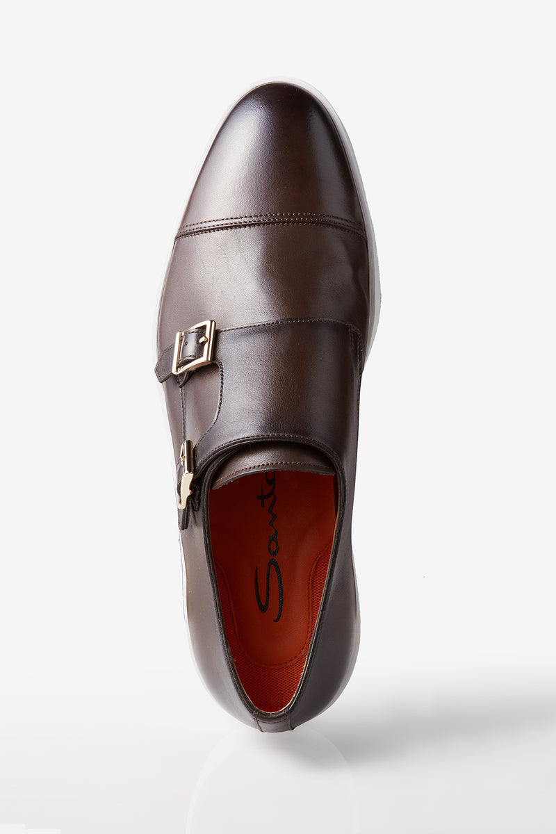 Santoni Freemont Double Buckle Monk-strap Sneaker in Dark Brown