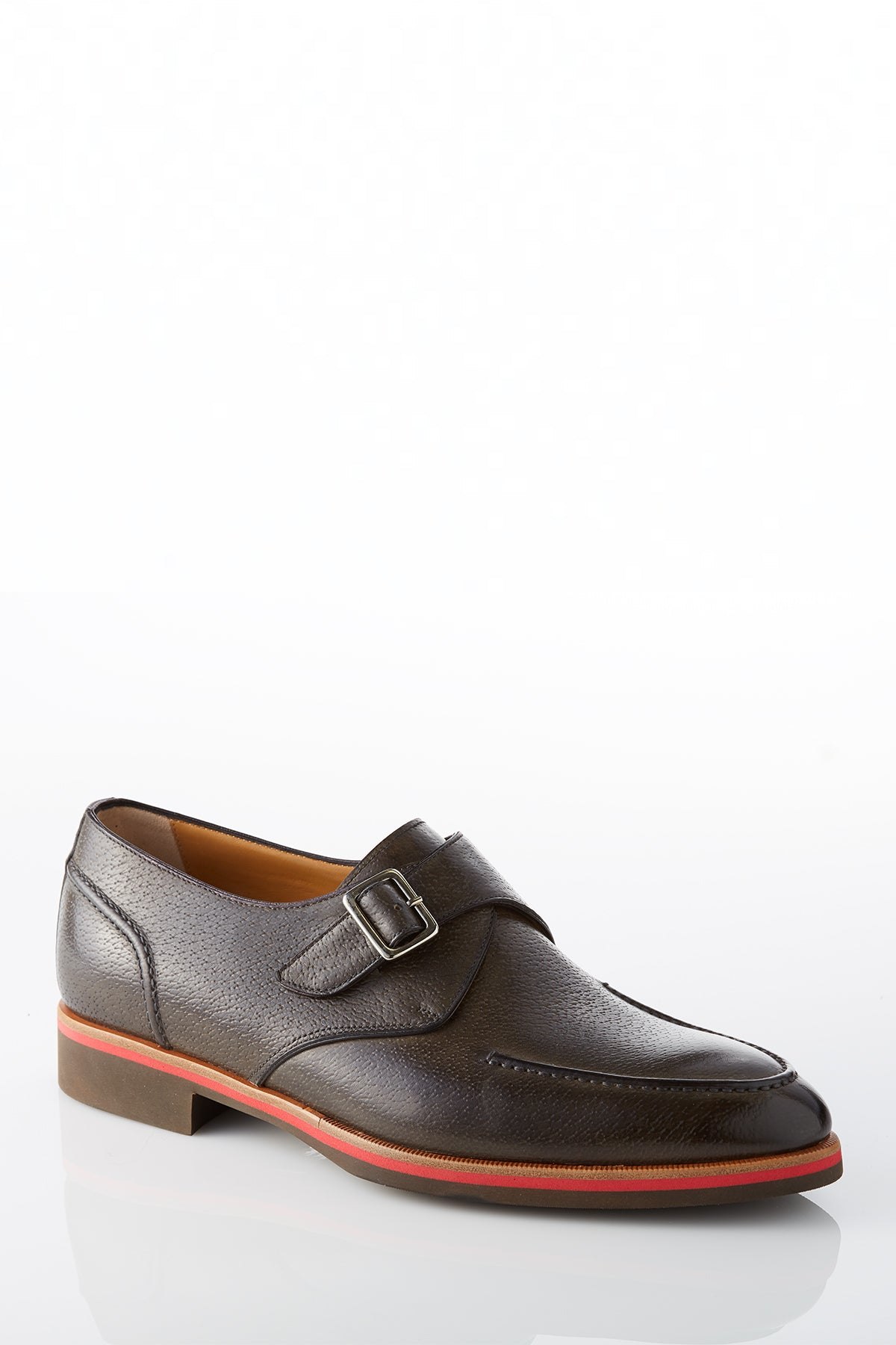 David August Leather Single Buckle Monk-strap Shoes in Graphite Grey Di Bianco
