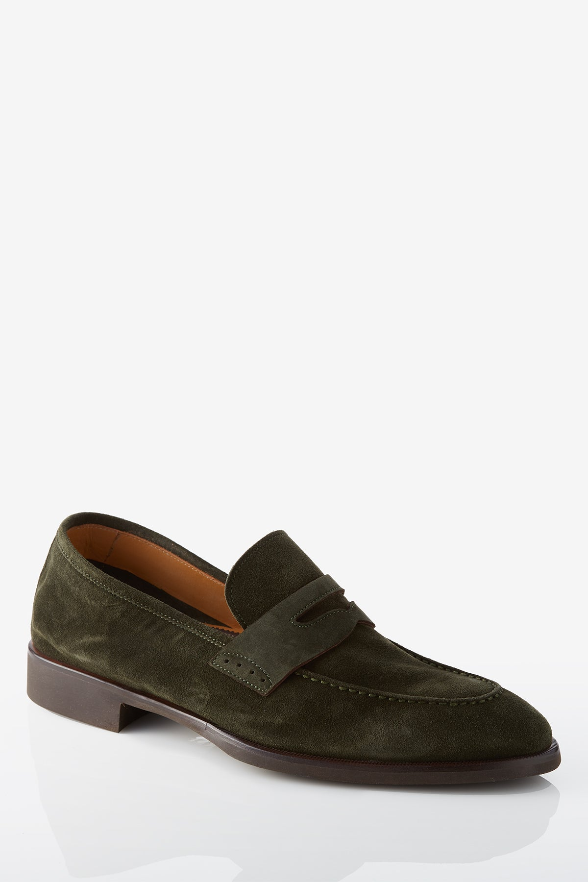 David August Suede Penny Loafer in Loden Dark Green Di Bianco
