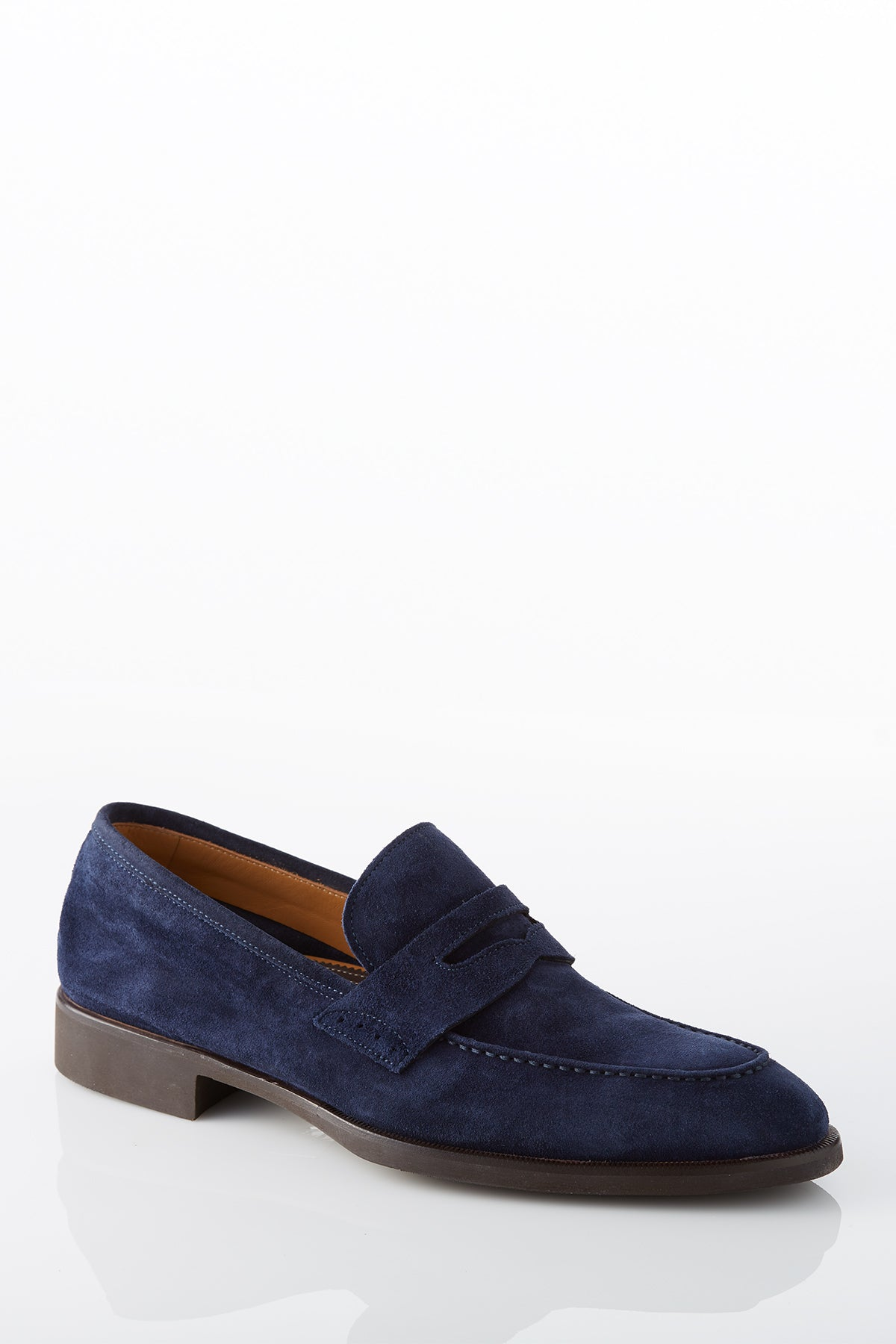 David August Suede Penny Loafer in Cosmos Navy Blue Di Bianco