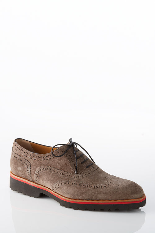 David August Suede Wingtip Brogues in Peltro Brown Grey Di Bianco