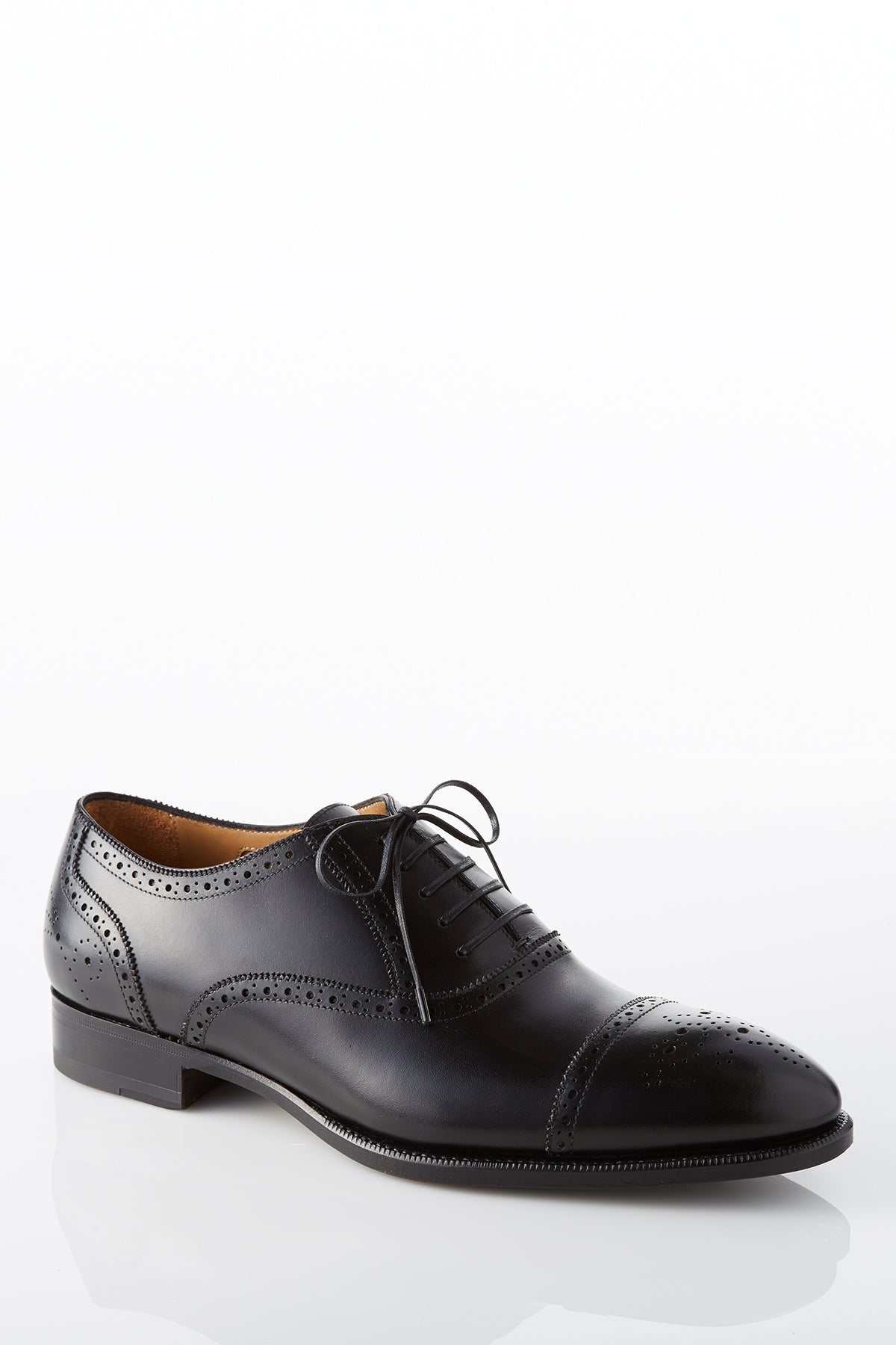David August Di Bianco Leather Brogue Oxford in Black