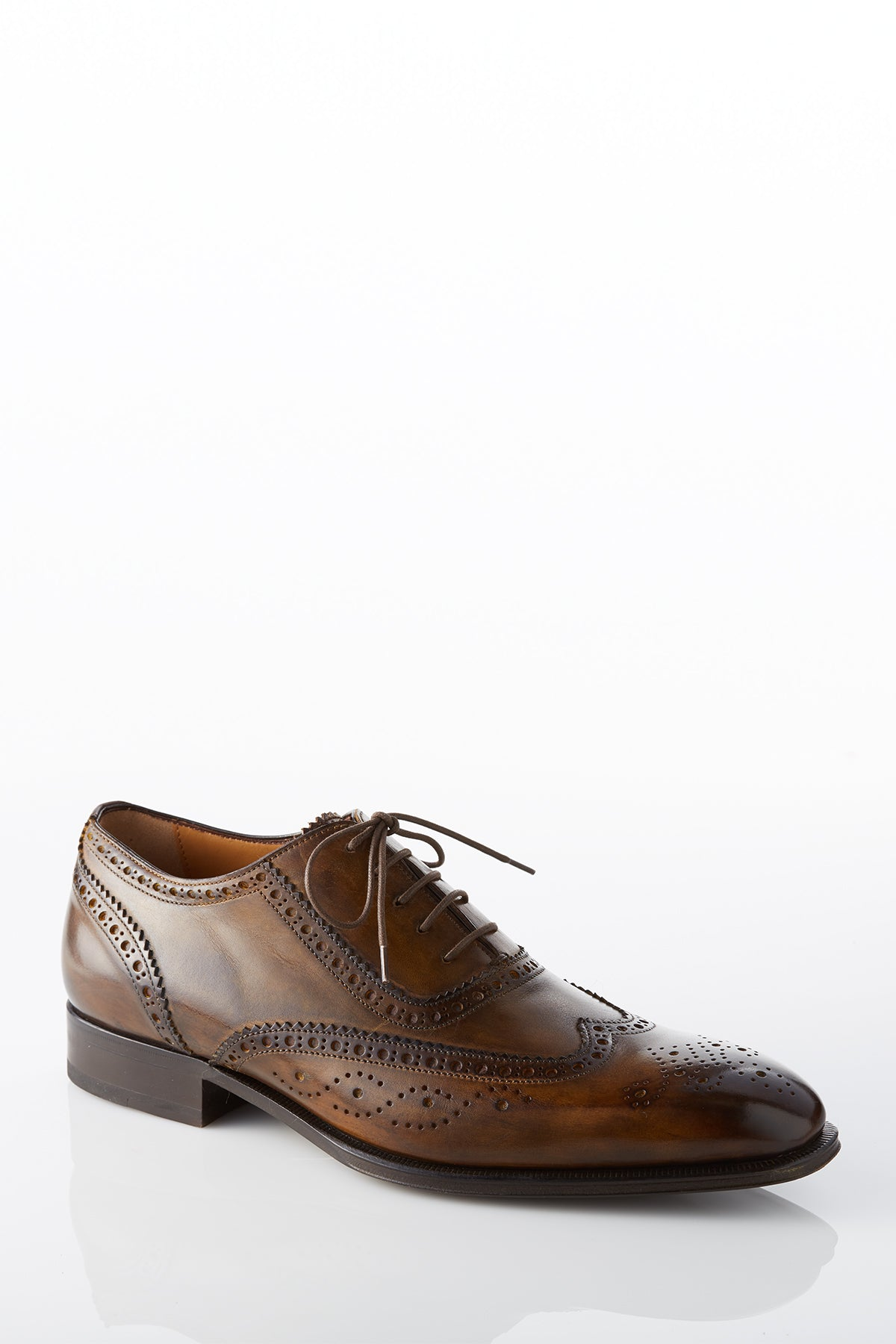 David August Leather Wingtip Brogue Shoes in Light Brown Di Bianco