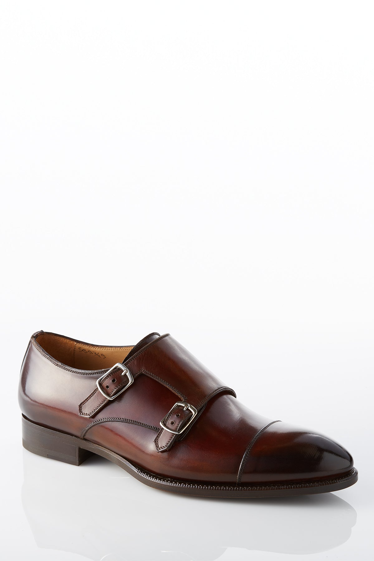 David August Leather Cap Toe Double Monk-strap Shoes in Whiskey Brown Di Bianco