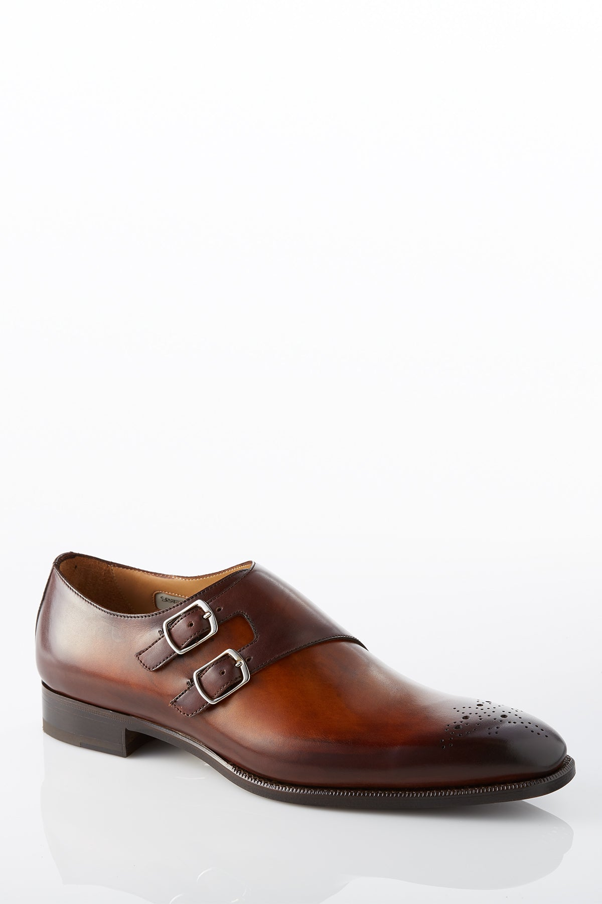 David August Leather Double Monk-strap Shoes in Whiskey Brown Di Bianco