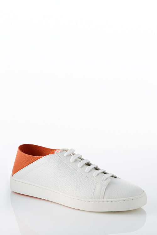 Santoni 999 Limited Edition Sneaker in White with Orange